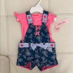 Little Lass Pink Overall Set/Shirt - not attached